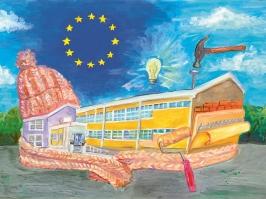 """Prva nagrada na likovnom konkursu """"Moj omiljeni evropski projekat"""" - Jovana Pavlović, Škola za tekstil i dizajn, Leskovac"""